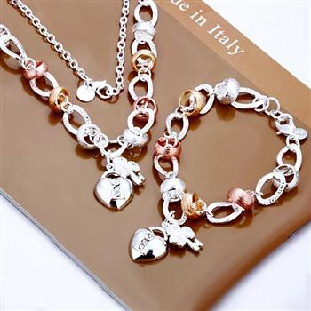 MEEKCAT Wholesale silver colourbracelet,925 stamp silver plated jewelry,fashion jewelry Heart Lock and Flower Key Two-piece Set(China)