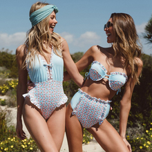купить 4 styles sexy one-piece swimsuit 2019 summer beach halter strap print pattern crochet lace ladies swimwear Classical bikini дешево