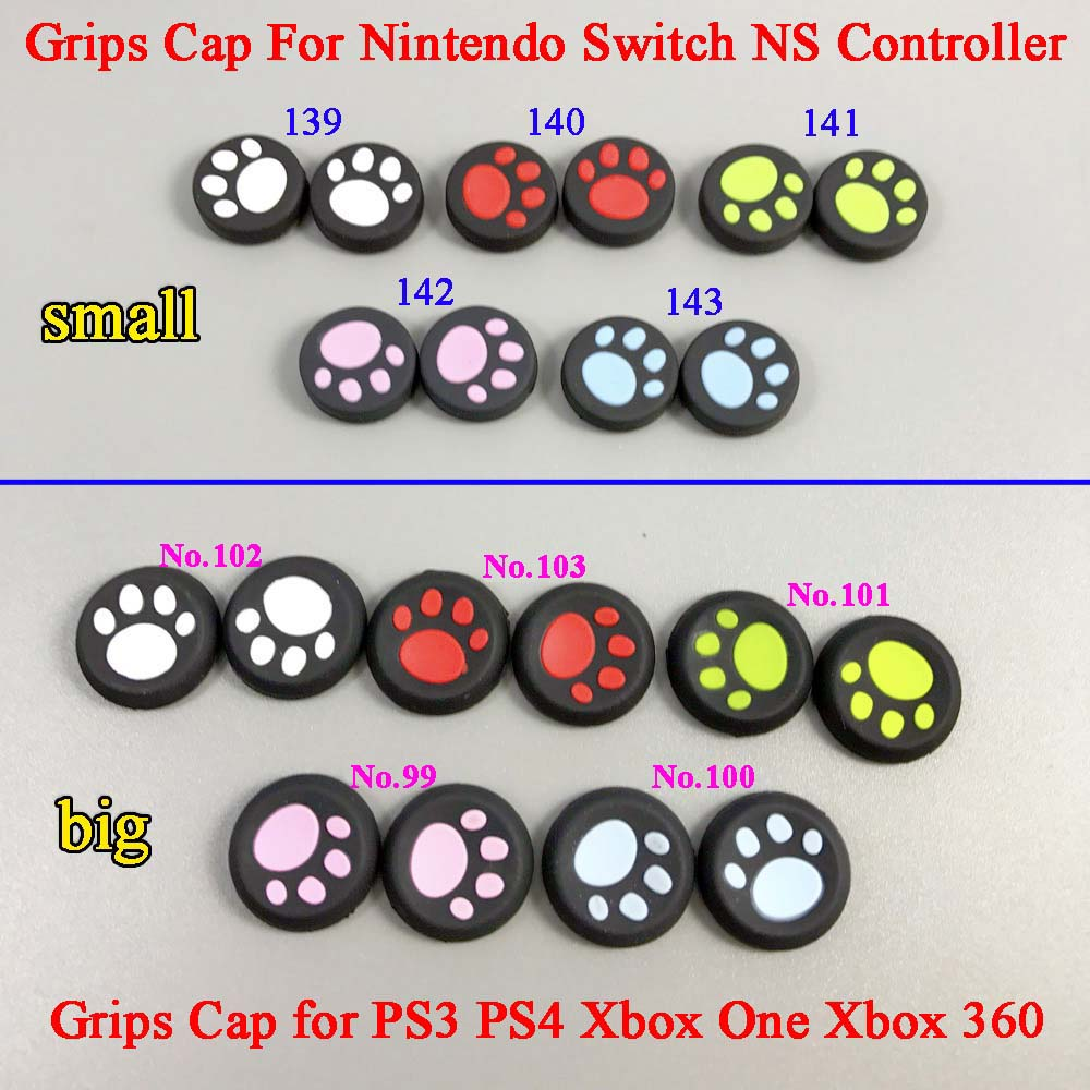 50 - 500 pcs For Nintendo Switch Cat Paw Claw Silicone Analog Controller Thumb Stick Grips Cap for PS3 for PS4 for Xbox 360 ONE