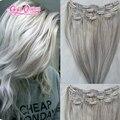 Queen hair clip em extensões do cabelo humano africano americano de ouro cinza cor do cabelo 100g/set10piece/set cabelo humano grampo em extensões