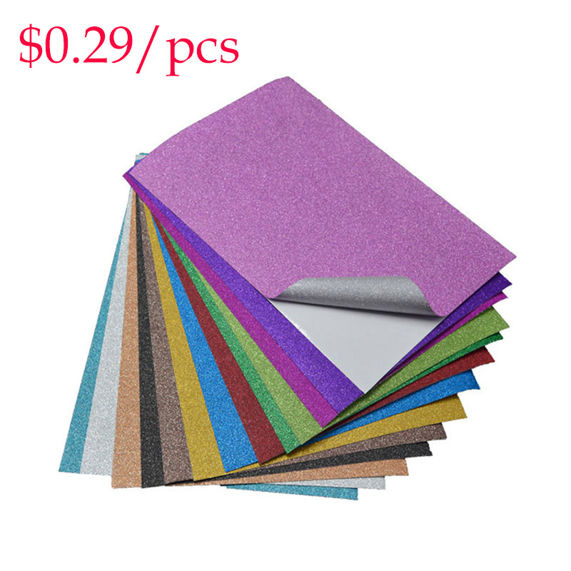 Diy Decoration Glitter Adhesive Film Glitter Sheets Scrapbooking Stickers 10pcs/bag Craft Sticks Film Party Stickers Book Cover