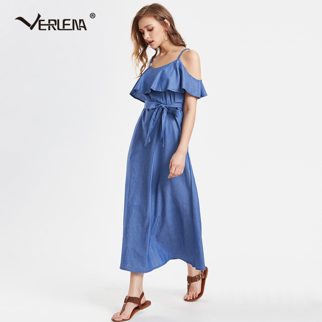 a7a68611c6691 Verlena 2018 Denim Blue Summer Dress Women Off-Shoulder Patchwork Ruffle  Strappy Vestidos Belt Maxi Dress Plus Size Long Dresses