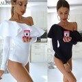 Sexy Women Long Sleeve Bodysuit Ruffled One Shoulder Leotard Top Solid Slim Jumpsuit