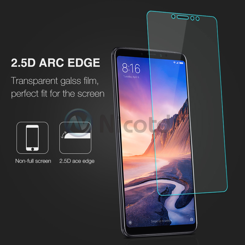Image 3 - Nicotd Tempered Glass For Xiaomi Mi MAX 3 Screen Protector 9H 2.5D Phone On Protective Glass For Xiaomi Mi MAX 2 1 mimax film-in Phone Screen Protectors from Cellphones & Telecommunications