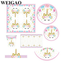 WEIGAO Unicorn Party Decor Birthday Latex Balloons Unicorn Theme Paper Hat Napkins Plate Table Cloth Kids Happy Birthday Gifts
