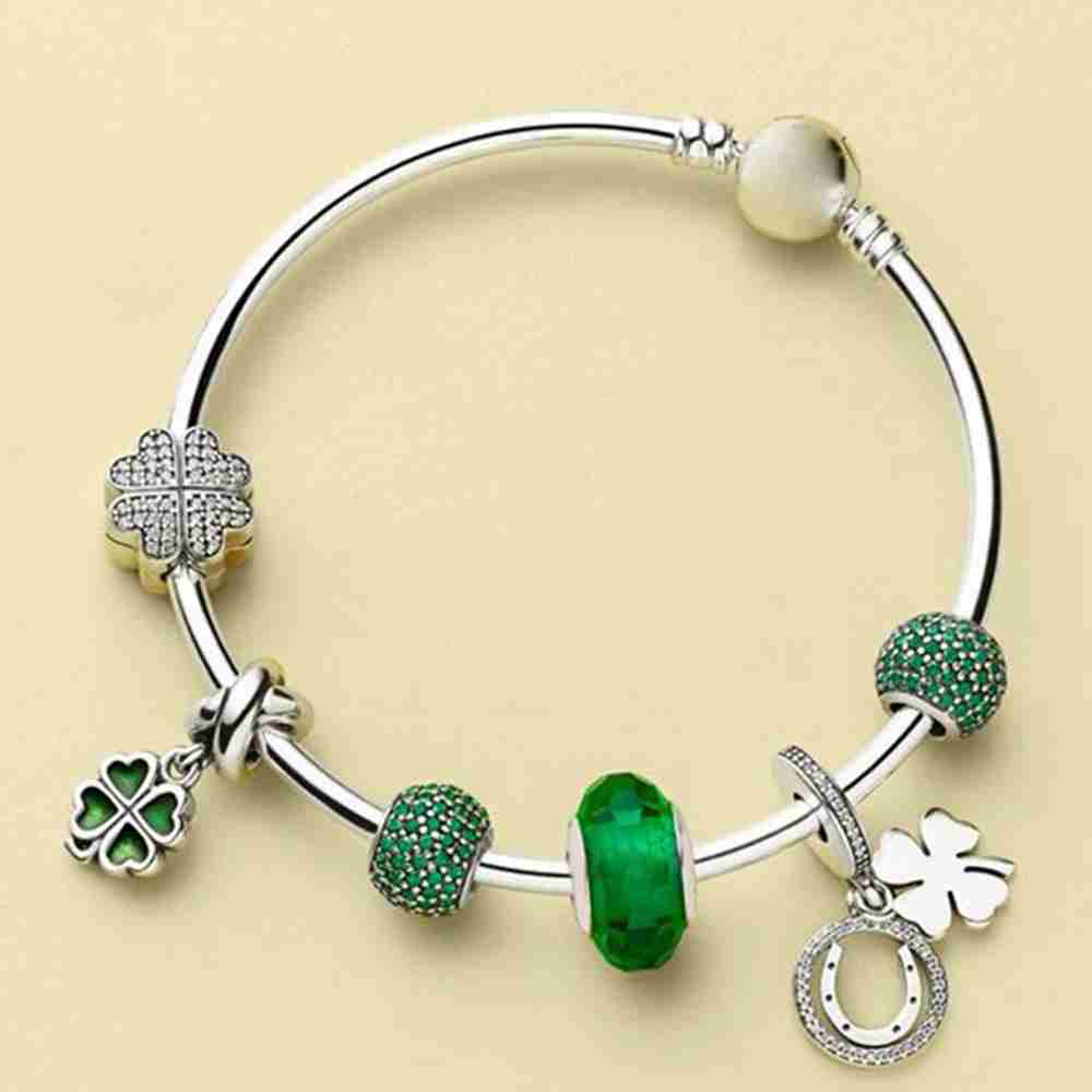 Kristie 100% 925 Sterling Silver 1:1 Green Pave Ball Charm PETALS OF LOVE CLIP GOOD LUCK HANGING CHARM Four-leaf Clover Bangle SKristie 100% 925 Sterling Silver 1:1 Green Pave Ball Charm PETALS OF LOVE CLIP GOOD LUCK HANGING CHARM Four-leaf Clover Bangle S