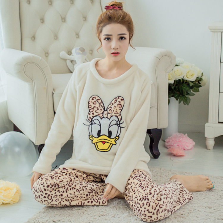 b32a8b51024 Detail Feedback Questions about Winter Long Sleeve Cartoon Duck Thick Flannel  Maternity Pajamas Home Wear Breast Feeding Pregnancy Clothing Factory Sale  on ...