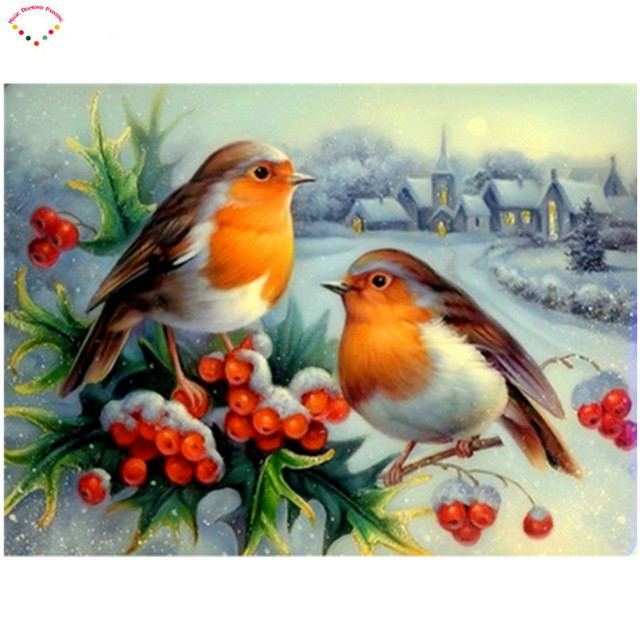 5d diy diamond painting cross stitch animal birds stickers diamond embroidery scenery crystal round diamond mosaic