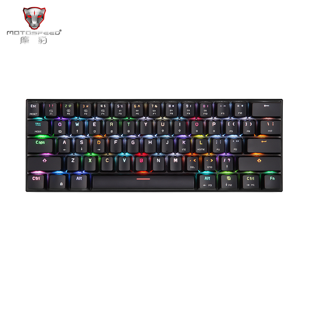 New MOTOSPEED CK62 Wired Bluetooth Dual Mode Gaming Mechanical Keyboard With Box 7 Colors RGB Backlight Blue&Red Switch 33*13*7