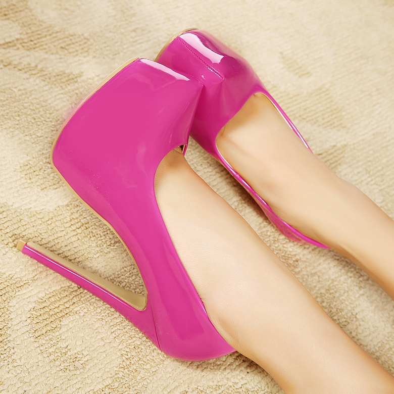 ФОТО Candy-Colored Patent Leather 16cm High Heels Special Hot Fashion Bright Colors Heeled Shoes
