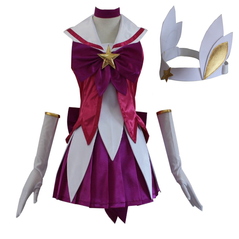 Anime Hot Luxanna Crownguard The Lady of Luminosity Magical Girl Cosplay Costume Custom Made Dress