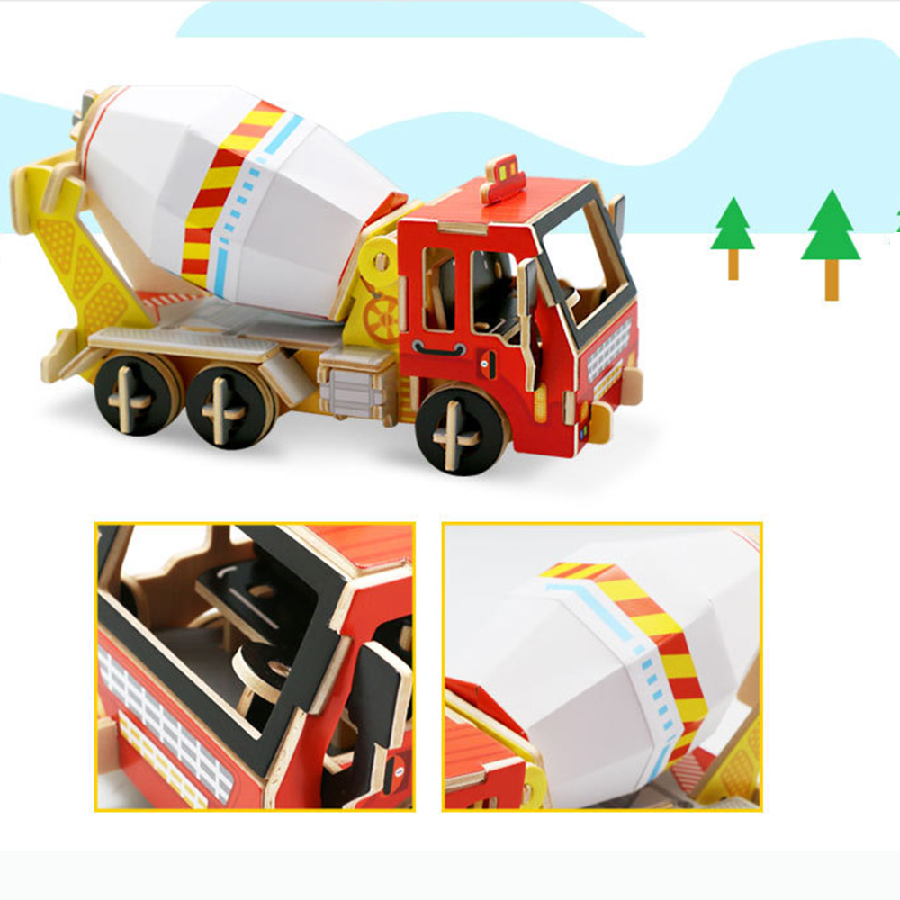 Construction Wooden Toy For Kids Educational 3D Puzzle Mixer Truck Wooden Educational Toy For Children Wooden Game
