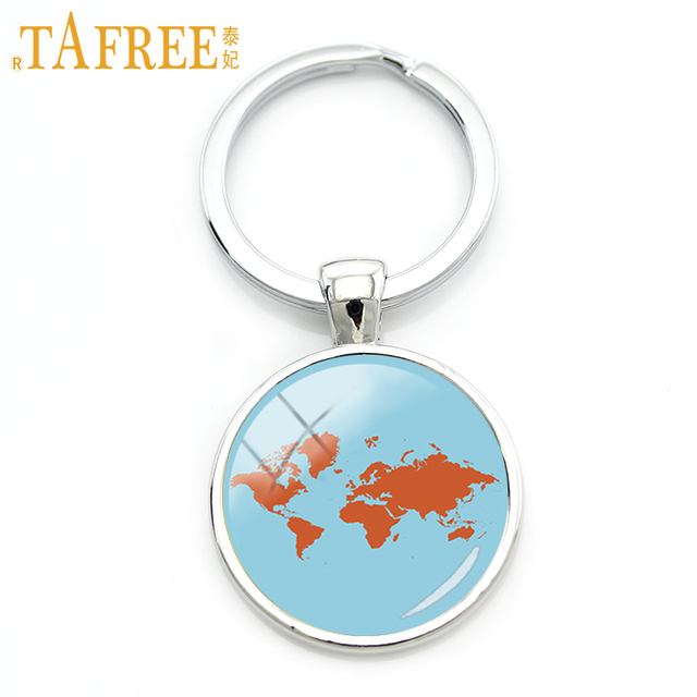 Aliexpress buy tafree world map keychain large scale around tafree world map keychain large scale around the globe key chain fashion art glass dome glass sciox Images