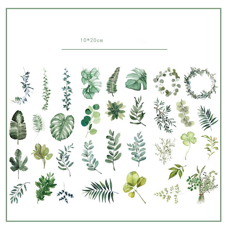 3pcs/lot Green Leaves Journal Decorative Stickers Set Scrapbooking Stick Label Diary Stationery Album Stickers