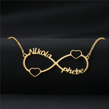 лучшая цена Custom Infinity Name Necklace Personalized Silver Gold Rose Infinity Pendant Necklace Women Men Bridesmaid Gift Couple Jewelry