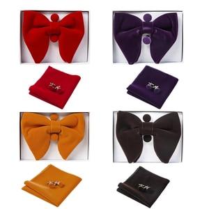 Image 2 - Ricnais Velvet Big Bow Tie Mens Bowties Pocket Square Cufflinks Set Solid Red Blue Handkerchief Necktie For Man Wedding Gift