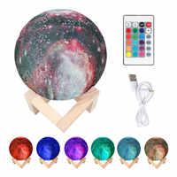 3D Gedruckt Starry Sky Planet Lampe Mond Lampe Farbe Touch veränderbar Led Nacht Licht Galaxy Lampe Schlafzimmer Decor Kreative Geschenk 15 CM