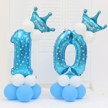 "Rosa e blu 32 ""Mylar Digital Ballons con corona Set Ballon Pillars Bambini Birthday Party Road Lead Ballon"