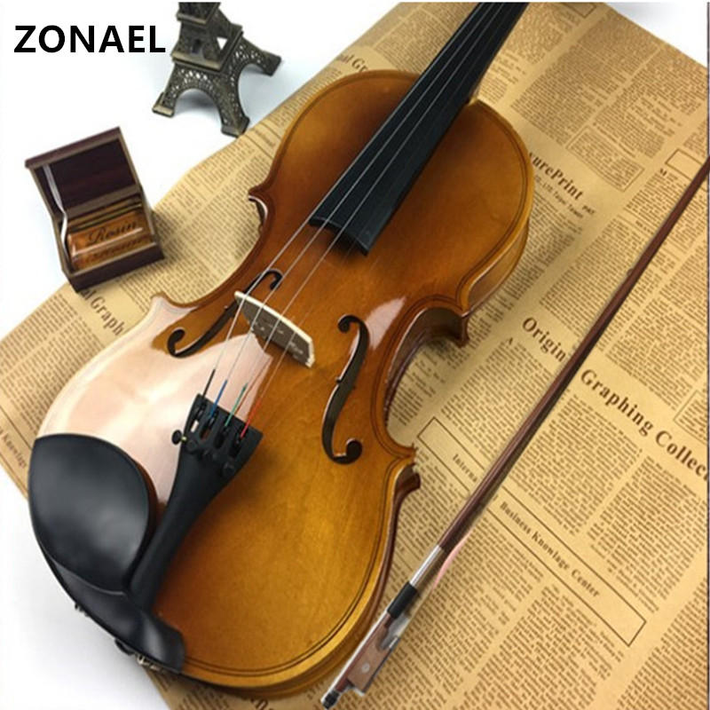 ZONAEL 4/4 Full Size Natural Acoustic Violin Fiddle with Case Bow Rosin basswood V001 high quality 4 4 violin case full size violin case fiddle violin case fiber glass case with bow holders page 7
