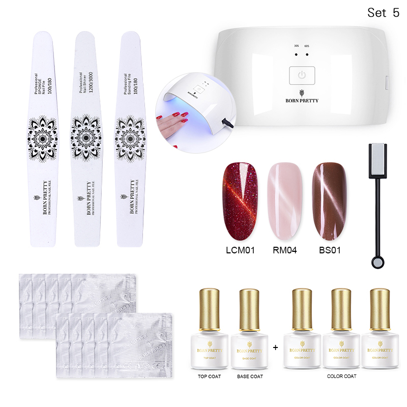 BORN PRETTY 24W Nail Dryer UV Lamp Soak Off Gel Nail Polish Base Top Coat Remover Files Nail Art Kits Manicure Set nail art manicure tools36w uv lamp nail dryer 6 color 10ml base top coat soak off gel varnish nail polish nail set kits