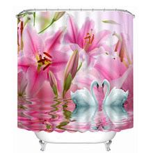 Flower Swan pattern 3D Shower Curtain Polyester Fabric Waterproof Shower Curtain Eco-Friendly Bathroom Curtain Home(China)