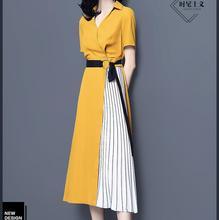 Vestido amarelo de verão 2019 novo verão longo estilo moda temperamento 100 plissados a linha de saia