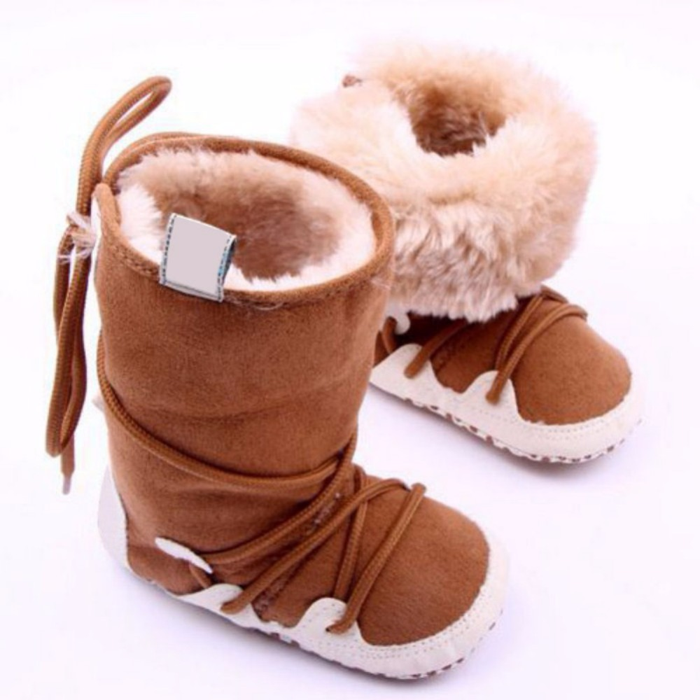 Nyfødte Baby Girls Boys Kid Snow Boots Soft Crib Sko Toddler Warm Fleece Boots