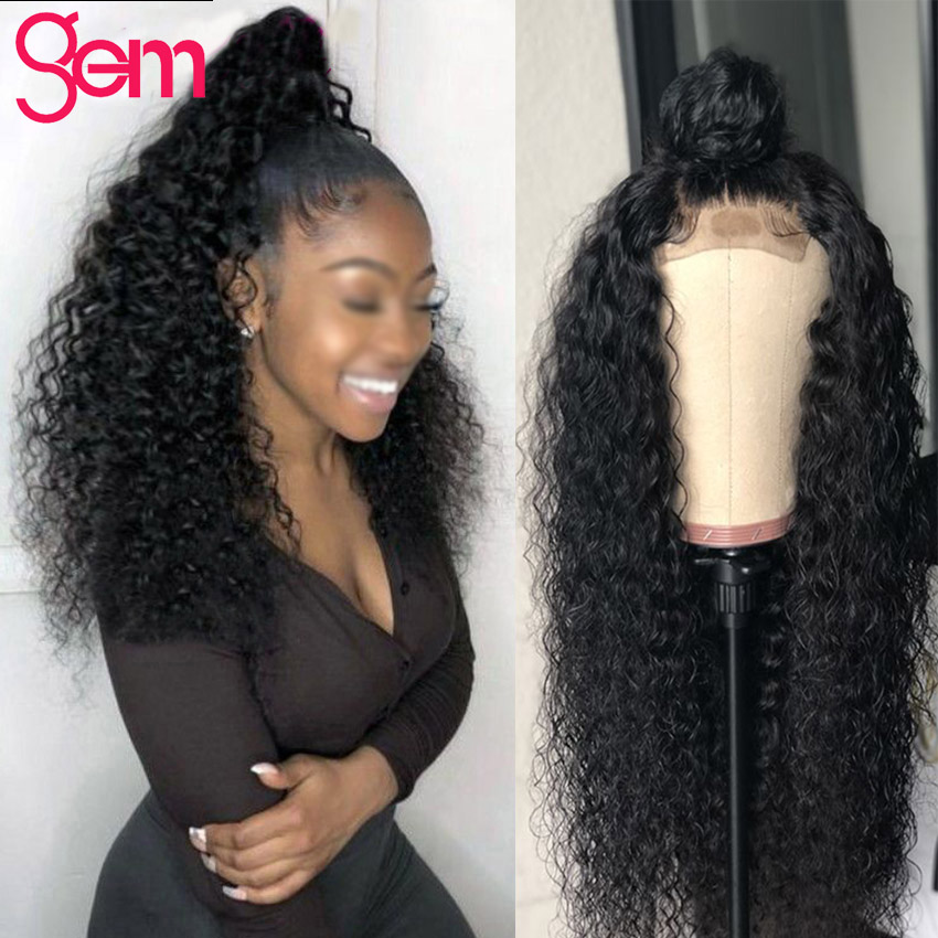4x4 Closure Wig Curly Human Hair Wigs Lace Front Human Hair Wigs GEM Peruvian Remy Pre
