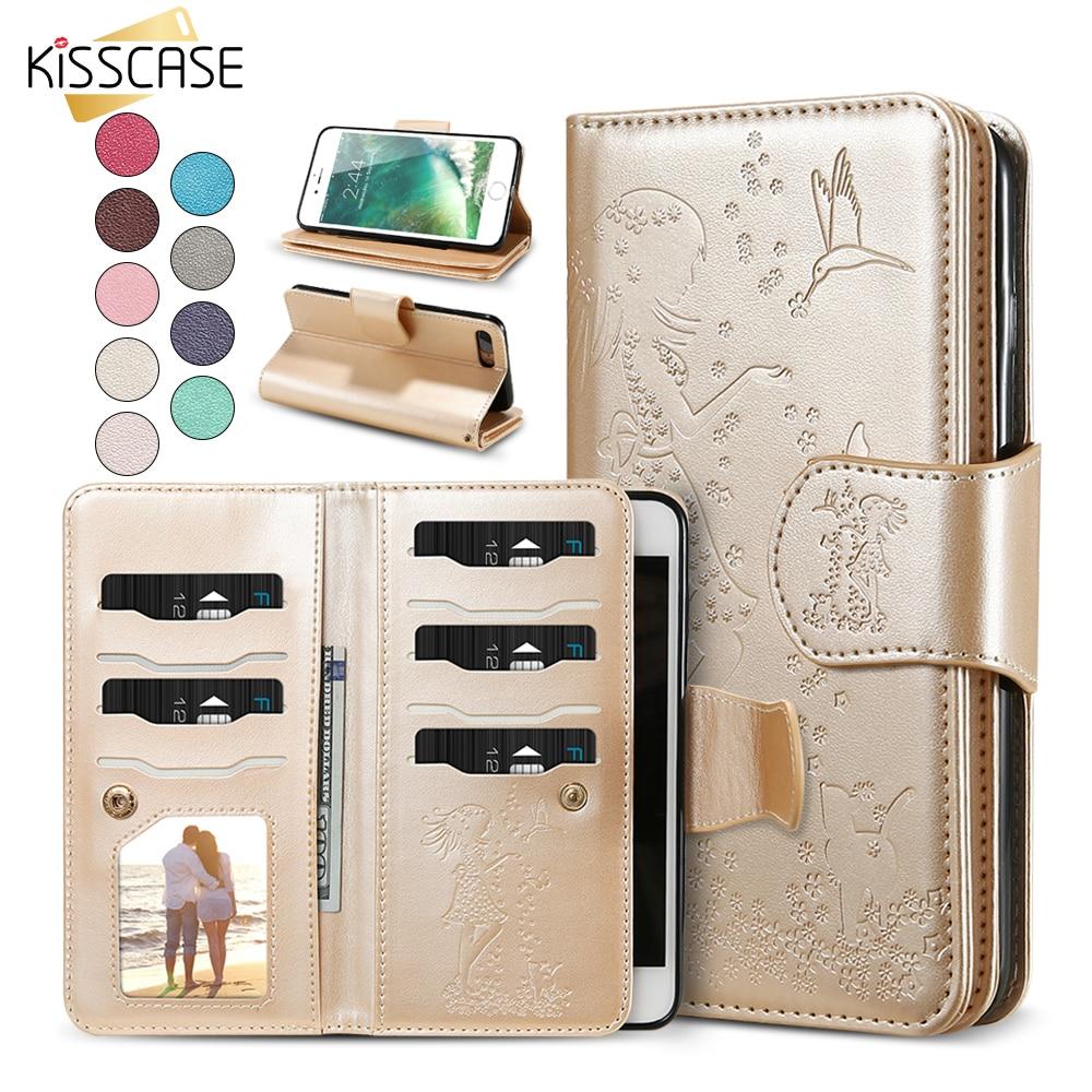 KISSCASE Plånbokstelefon för iPhone 11 Pro Max 11 Xr Xs X 5 5S SE Kvinnors läderfodral för iPhone 7 6S 8 Plus Spegeltillbehör