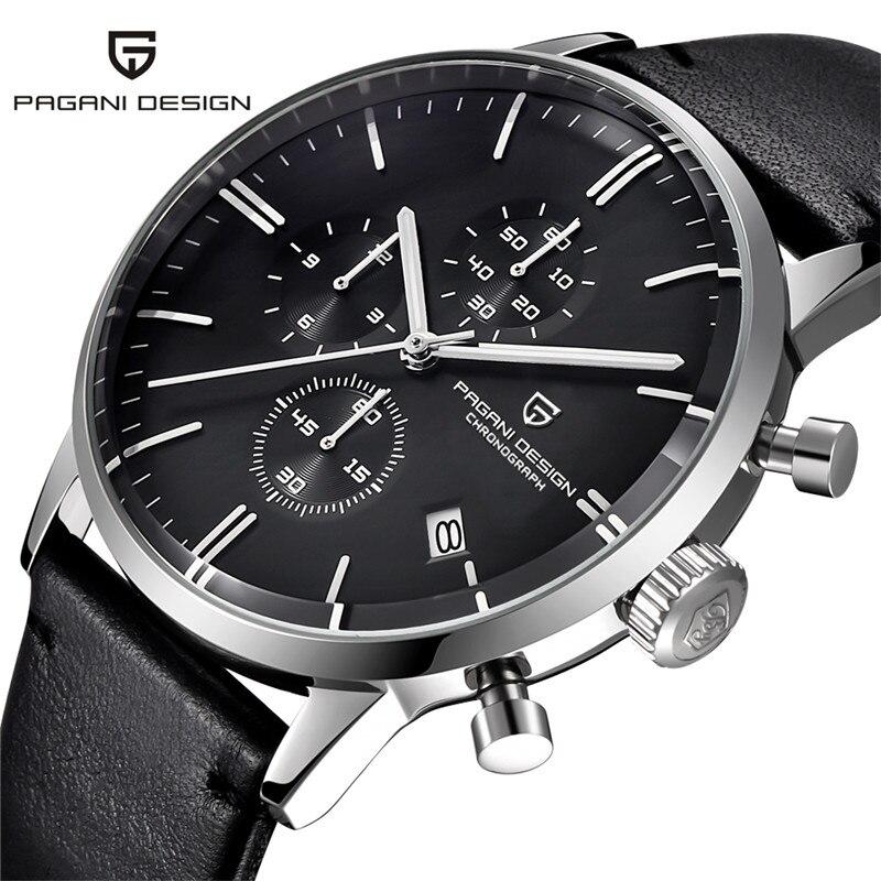 Relojes de diseño PAGANI de marca de lujo multifunción de cuarzo para hombre cronógrafo deportivo militar reloj Vogue cuero reloj Masculino-in Relojes deportivos from Relojes de pulsera    1