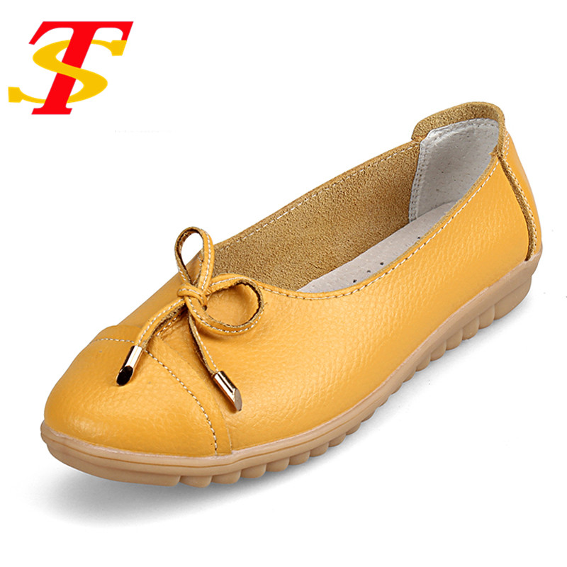 TS Summer Slip On Leather Casual Shoes Comfortable Light Women Flat Shoes Round Toe Nurse Casual Fashion Loafer Plus Size Mujer  wolf who 2017 summer loafers cut out women genuine leather shoes slip on shoes for woman round toe nurse casual loafer moccasins