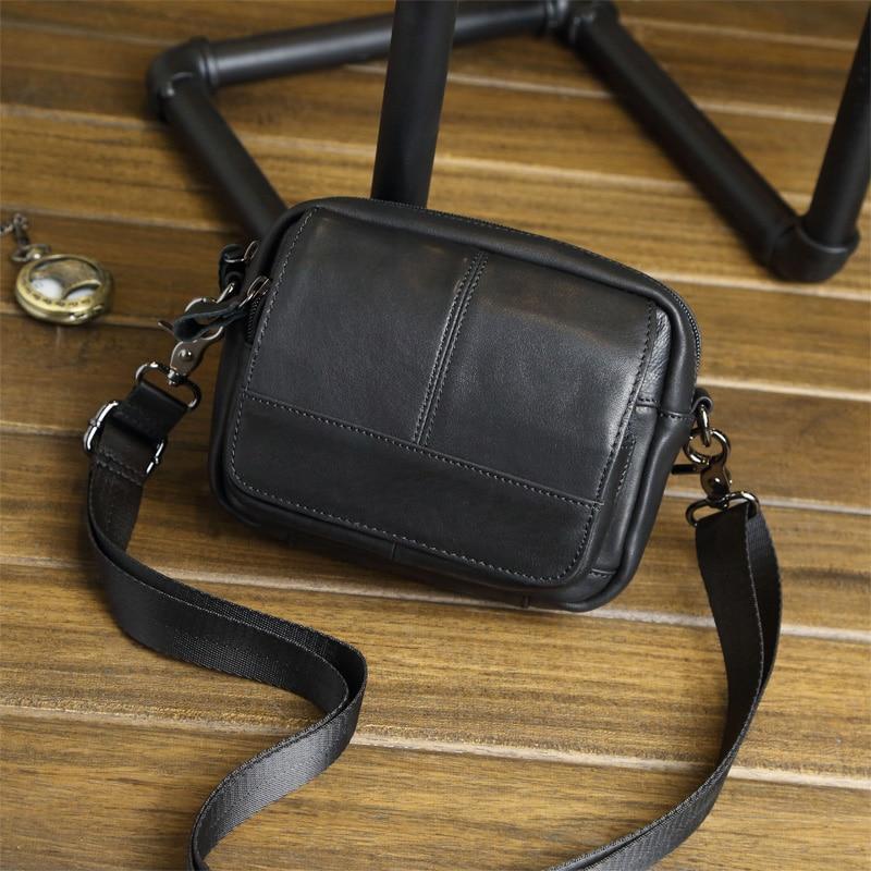 New fashion genuine leather men s shoulder bag waist pack vintage small messenger bag for men