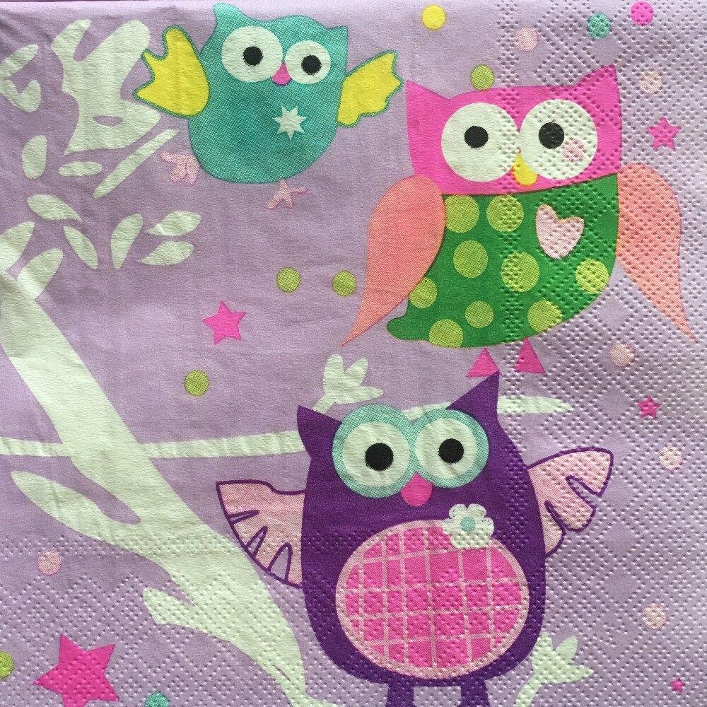 20pcs 33*33cm Cute Owl Paper Napkins,100/% Virgin Wood Napkin