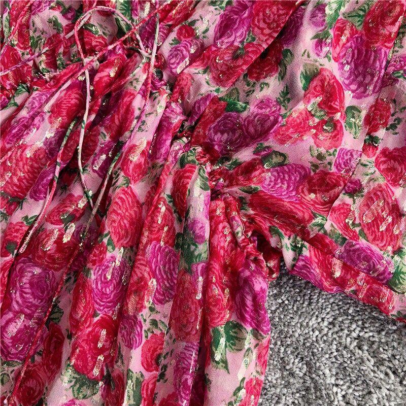 Femmes or ligne Rose fleur imprimé a ligne Mini robe à manches courtes col en v soie taille haute robe-in Robes from Mode Femme et Accessoires    3
