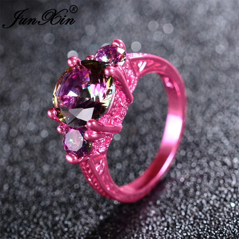 ROXI Female Heart Ring Fashion Big Round Stone Rainbow Rings AAA ...
