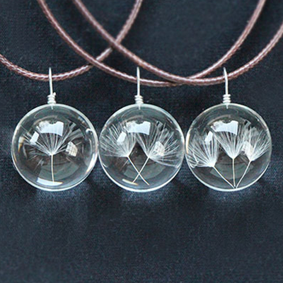 Real Dandelion Jewelry Crystal Glass Ball Necklace