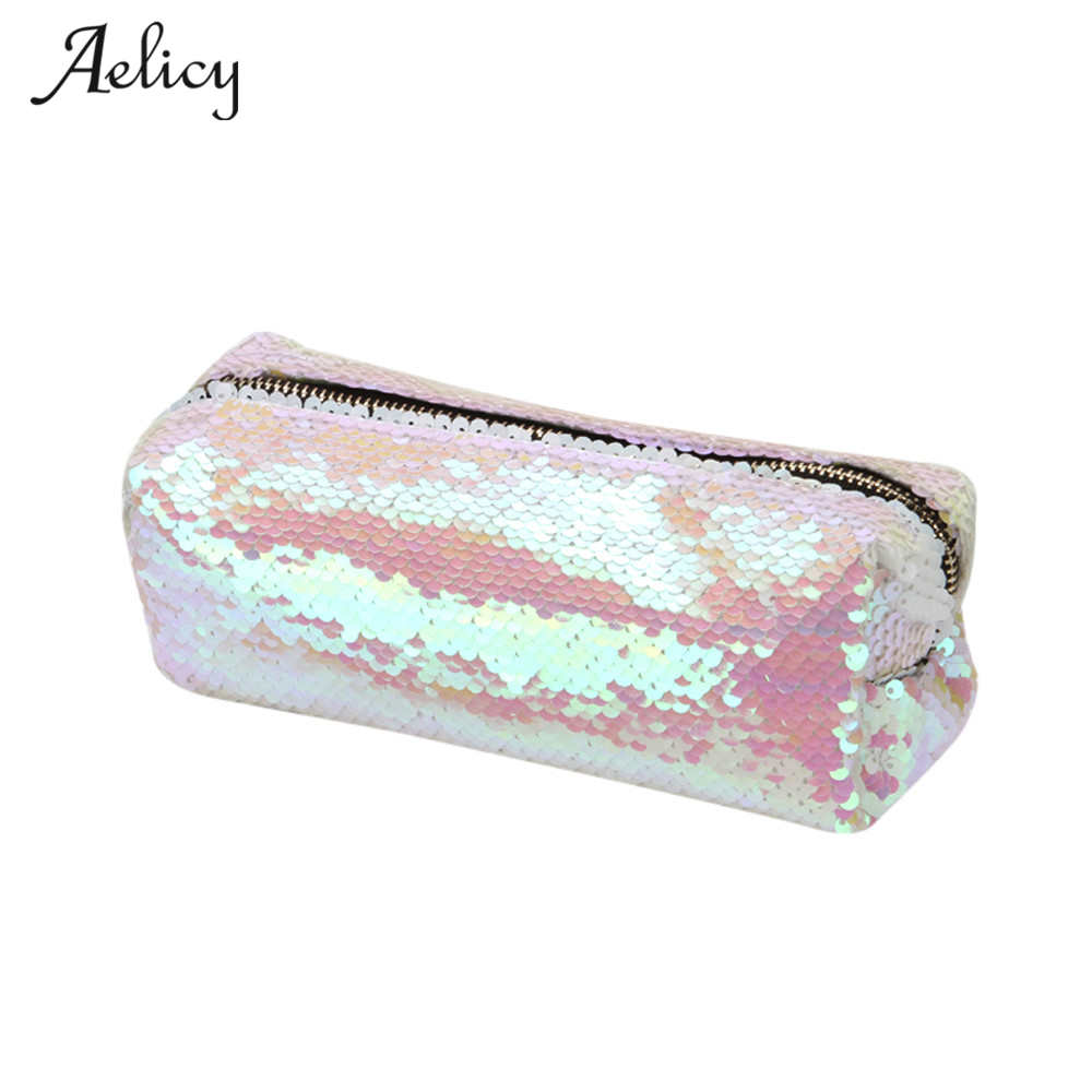 Aelicy New Gold Makeup Bags PU Geometric Bag For Ladies Pouch Women Portable Zipper Cosmetic Bag Pen Pencil Case Organizer