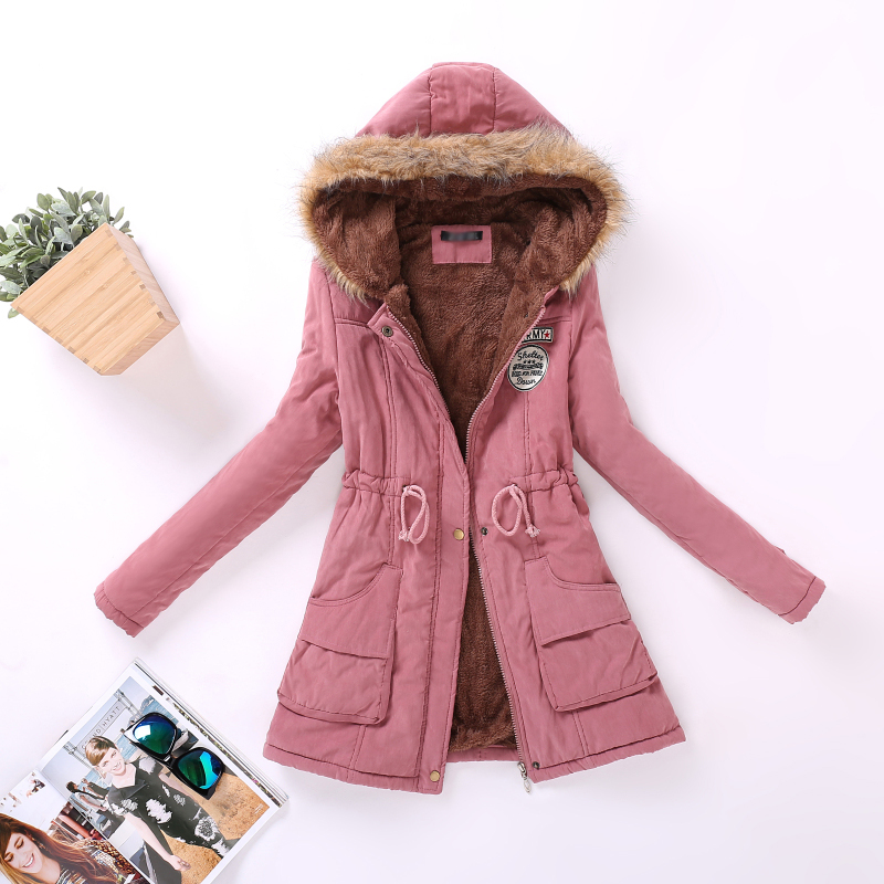 2018 Military Green Women Winter Parka for Ladies Hood-ed Faux Sherpa Lined out-wear Black Coats Feminina Red Tops 3XL Plus Size