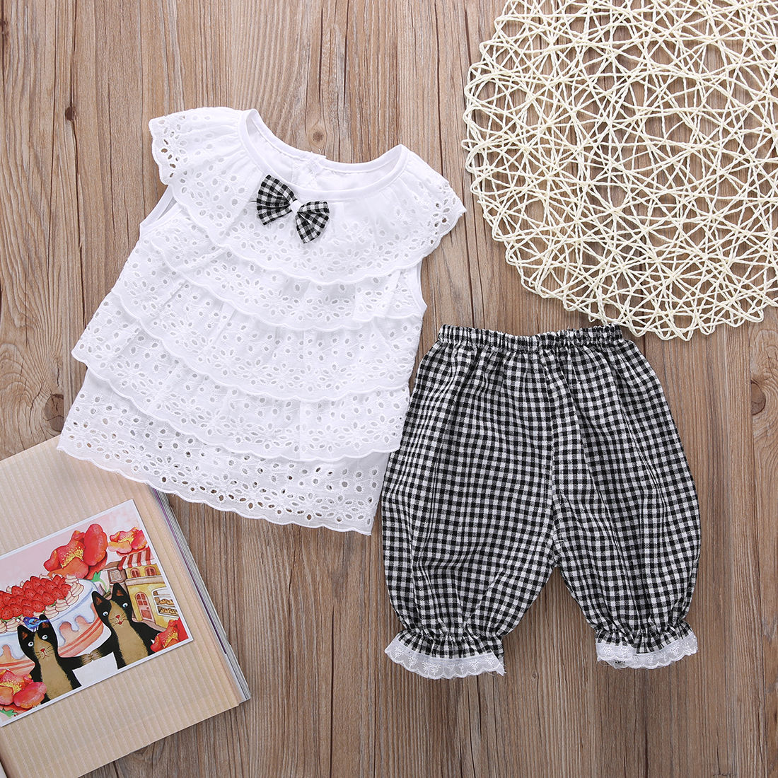 58194931ed090 US $3.35 10% OFF|2PCS Toddler Kids Baby Girls Outfit Clothes Cute Lace  Plaid Sets Sleeveless shirt Tops+ short Pants Trousers Hot Sale-in Clothing  ...