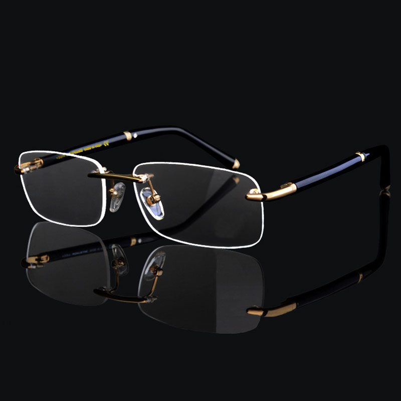 Super High Quality Luxury Business Män Rimless Eyeglasses Frame for Man Eyewear Optical Frame Glasses
