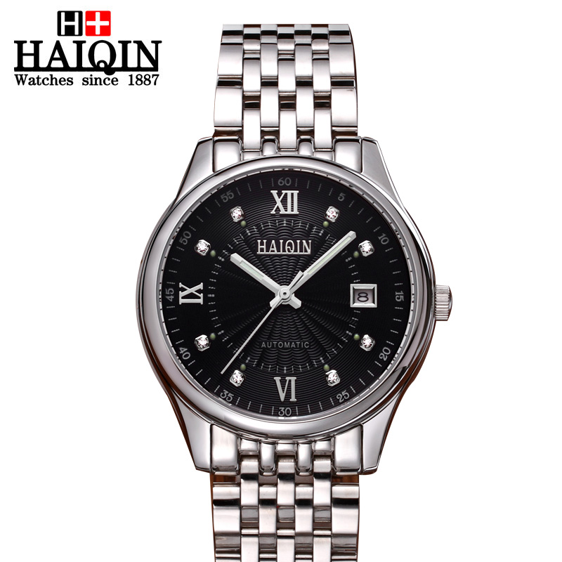 HAIQIN mens watch Mechanical Automatic clock Men Watch top quality famous china brand waterproof army luxury wristwatch vintage skmei 6911 womens automatic watch women fashion leather clock top quality famous china brand waterproof luxury military vintage