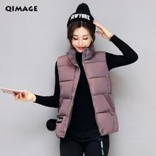 Q-IMAGE Для женщин зимние Жилеты Новинка 2017 года легкий тонкий короткий жилет из хлопка стеганая куртка без рукавов женский воротник жилет