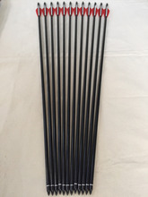 Free shipping 12 Pcs 30″ Fiberglass arrow ID6.2 OD8mm Spine500 with 3″ plastic vane for compound bow archery