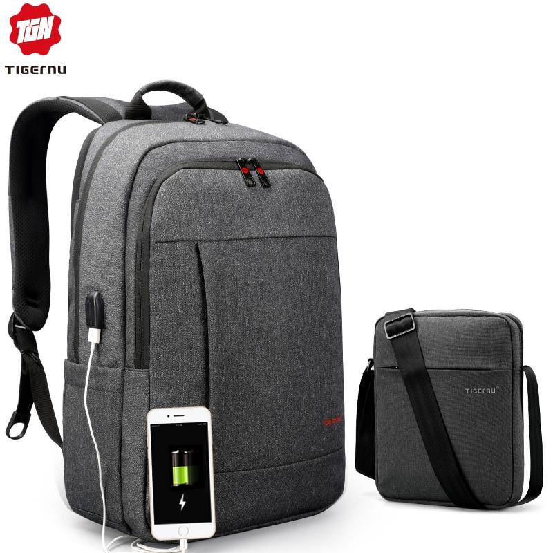 Tigernu sac à dos pour ordinateur portable sac ensemble avec USB charge Messenger sac pour hommes résistant aux éclaboussures sacs à bandoulière 15.6 Mochila mâle sacs de voyage