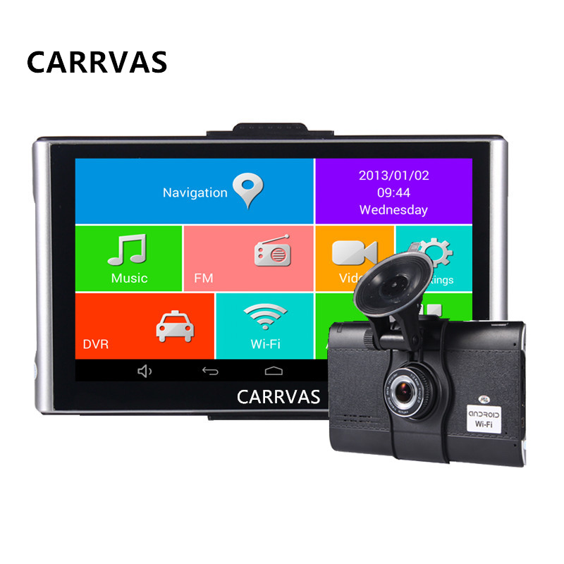 CARRVAS 7 Inch Car GPS Navigation Android 4.4.2 MTK8127 WIFI/FM/Bluetooth/HD 1080P Car DVR Recorder Tablet PC 8G Flash