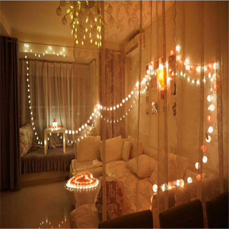 Battery Operated Led 20pcs Set Pure White Cotton Ball String Lights Fairy Home Bedroom Handmade Wedding Christmas Decor In Strips From
