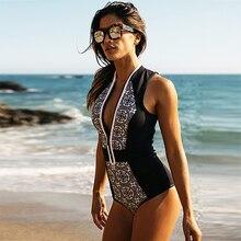 цены Women Sexy One piece Swimsuit Bikinis Print Floral Push Up Zipper Bathing Suit Beach Wear Brazilian Bikini Set Swimwear Women