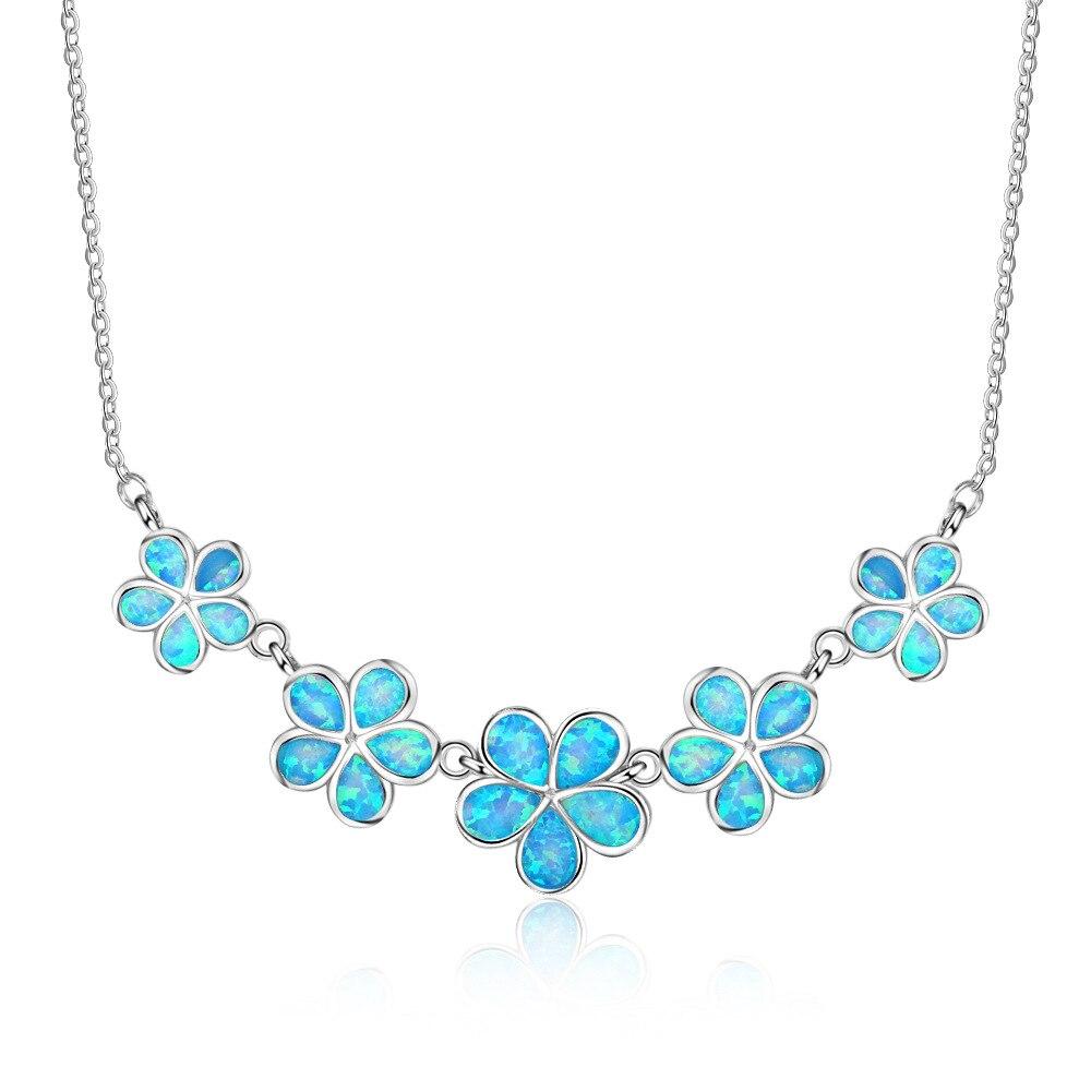 Joli collier en argent Sterling 925 en forme de fleur opale de feu bleu synthétique pour femme
