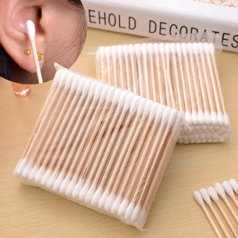 Natrual 100 Pcs Nose Ears Cleaning Health Care Tools Double Head Cotton Swab Women Makeup Cotton Buds Tip For Medical Wood Stick