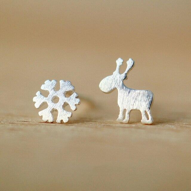 Flyleaf 925 Sterling Silver Earrings For Women Christmas Style Snowflake Deer Stud Earrings Girl Fashion Jewelry Gift